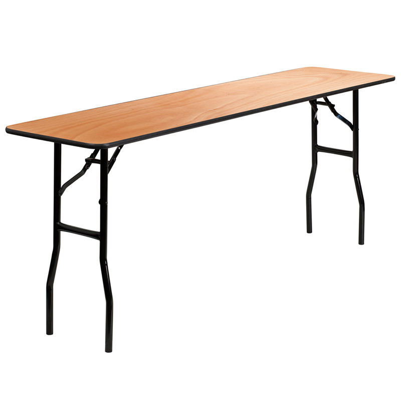 10   18u0027u0027 X 72u0027u0027 RECTANGULAR WOOD FOLDING TRAINING / SEMINAR TABLE WITH  SMOOTH CLEAR COATED FINISHED TOP